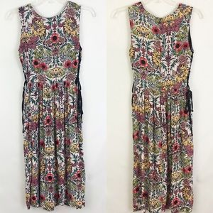 Topshop Floral Lace Up Sides Sleeveless Dress Sz 4
